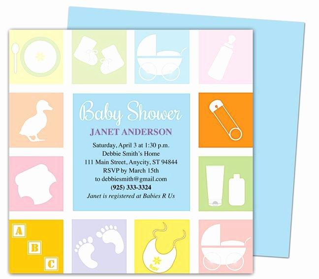 Baby Shower Template Word Luxury Baby Shower Invitations Template Blocks Shower