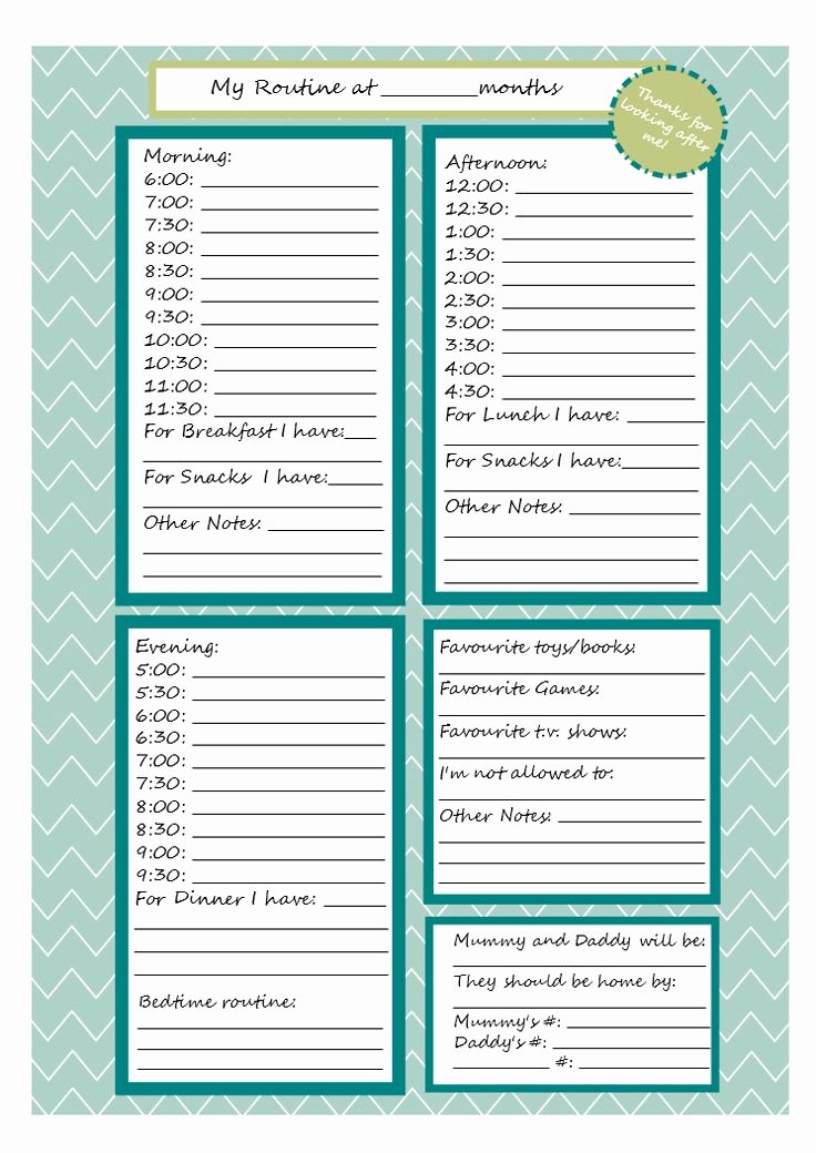 Babysitter Information Sheet Template Awesome Printable Babysitter Note Sheet