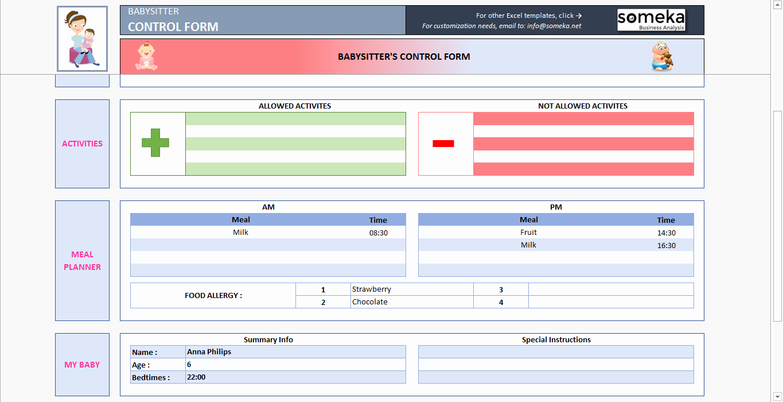 Babysitter Information Sheet Template Best Of Babysitter Information Sheet Printable Excel form