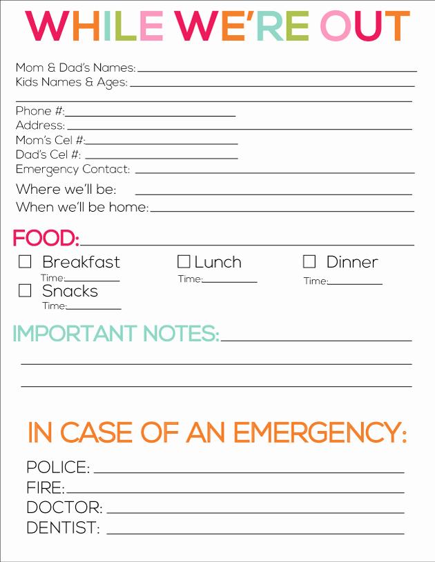 Babysitter Information Sheet Template Elegant 8 Best Of Printable Babysitter forms for Parents