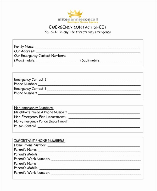 Babysitter Information Sheet Template Inspirational Emergency Contact form for Babysitter Idealstalist