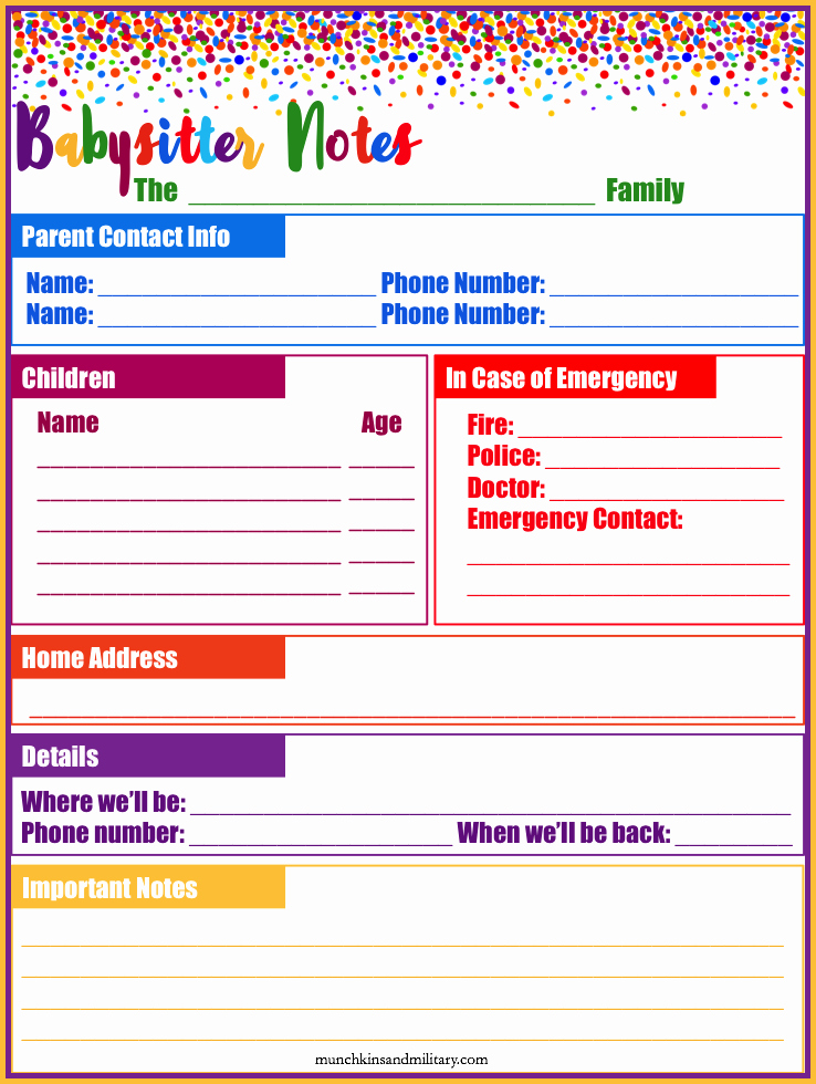 Babysitter Information Sheet Template Lovely My Babysitter Musts Munchkins and the Military
