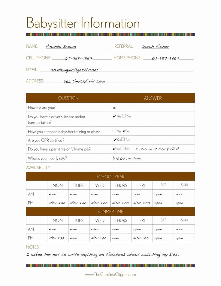 Babysitter Information Sheet Template New 17 Best Images About Nanny Binder On Pinterest