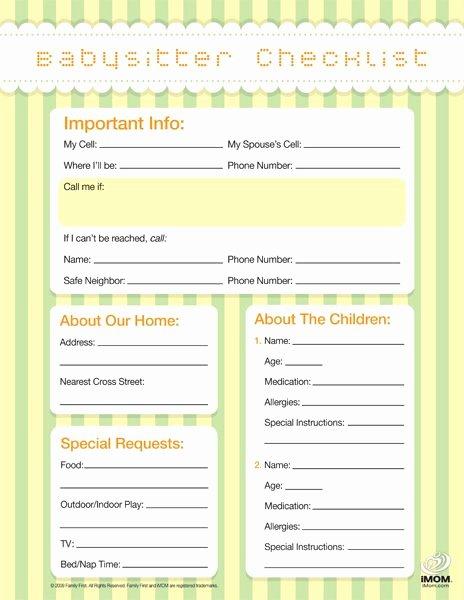 Babysitter Information Sheet Template New Babysitting Checklist Template