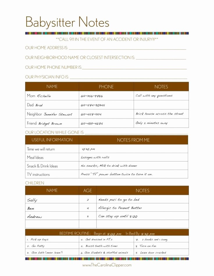 Babysitter Information Sheet Template Unique 21 Best Images About Babysitter Notes Templates Etc On