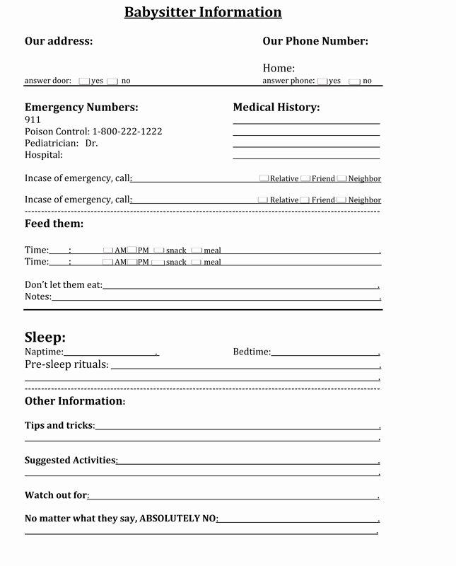 Babysitter Information Sheet Template Unique 7 Best Of Printable Babysitting Information Sheet
