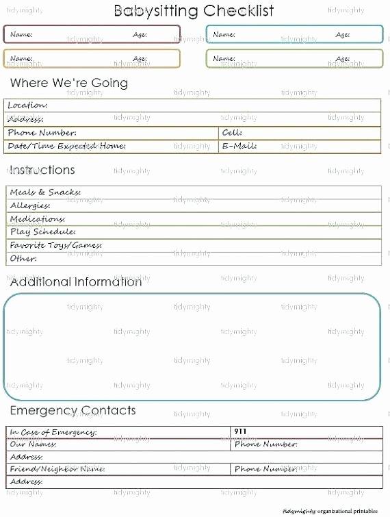 Babysitter Information Sheet Template Unique Babysitter Information Sheet – Ianimesh