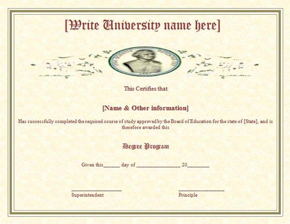 Bachelor Degree Template Free Beautiful 38 Sample Certificate Templates Pdf Doc