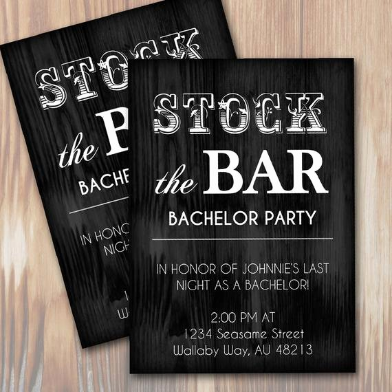 Bachelor Party Invitation Template Inspirational Stock the Bar Rustic Bachelor Party Invitation Instant
