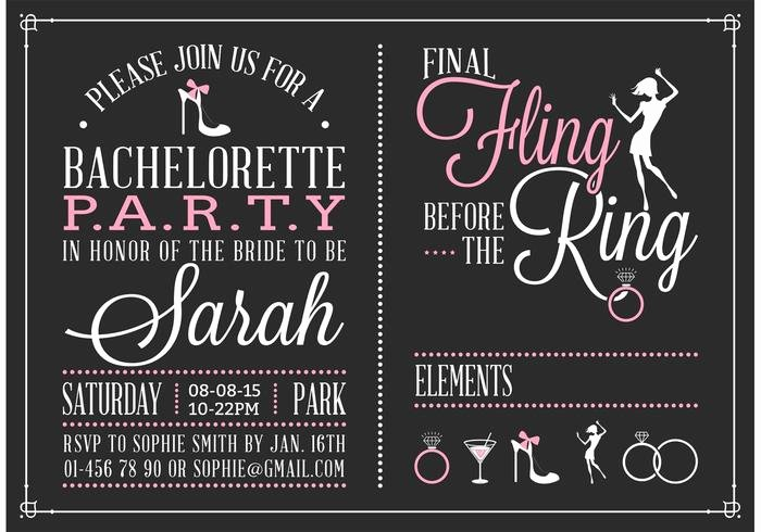 Bachelor Party Invitation Template Lovely Bachelorette Party Invitation Vector Download Free