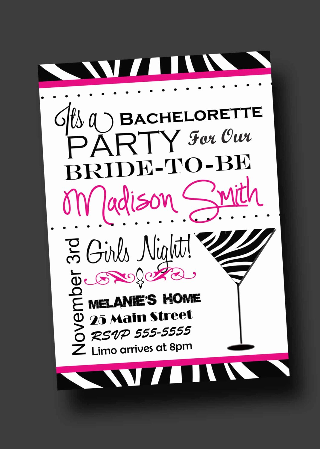 Bachelor Party Invitation Template Lovely Bachelorette Party Invitation Zebra Print Printable Digital