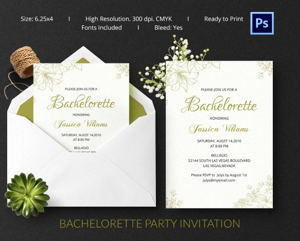 Bachelor Party Invitation Template Luxury Bachelorette Invitation Template 40 Free Psd Vector