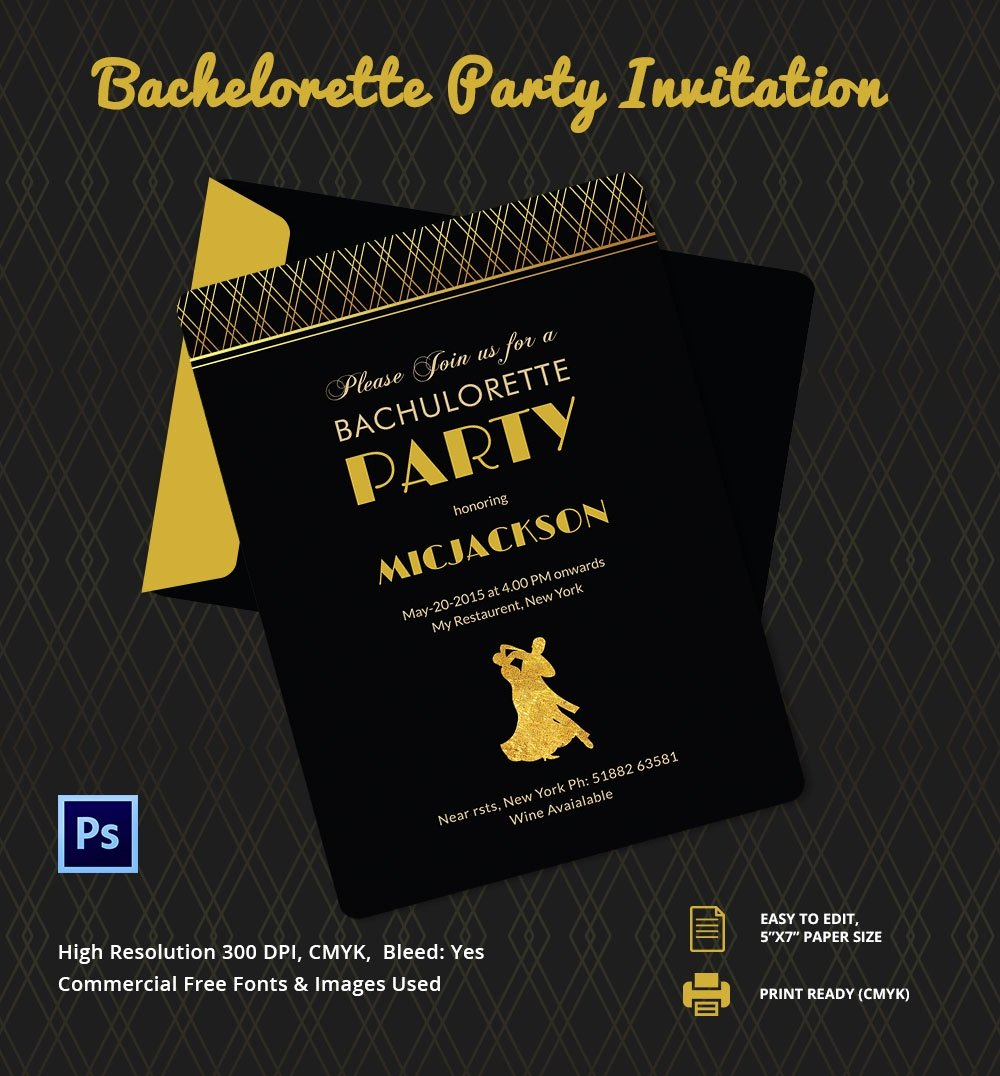Bachelor Party Invite Template Luxury Bachelorette Invitation Template 40 Free Psd Vector