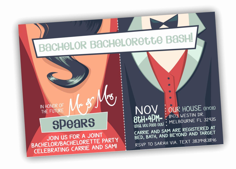 Bachelor Party Invite Template Unique Bachelor Bachelorette Party Invitation Customizable Colors