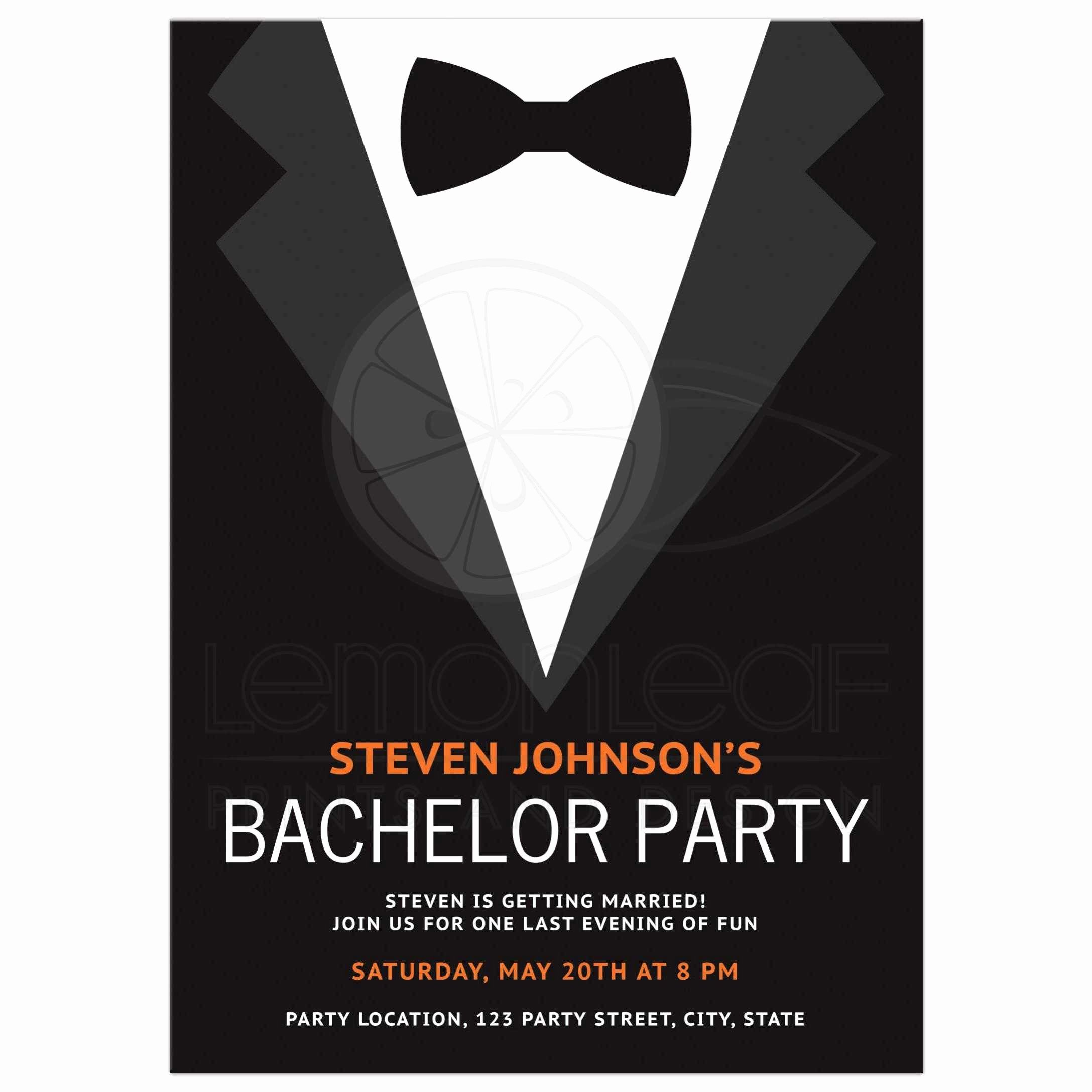 Bachelor Party Invite Template Unique Bachelor Party Invitation with Bow Tie