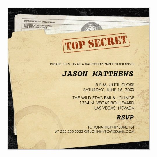 Bachelor Party Invite Template Unique Funny top Secret Bachelor Party Invitations