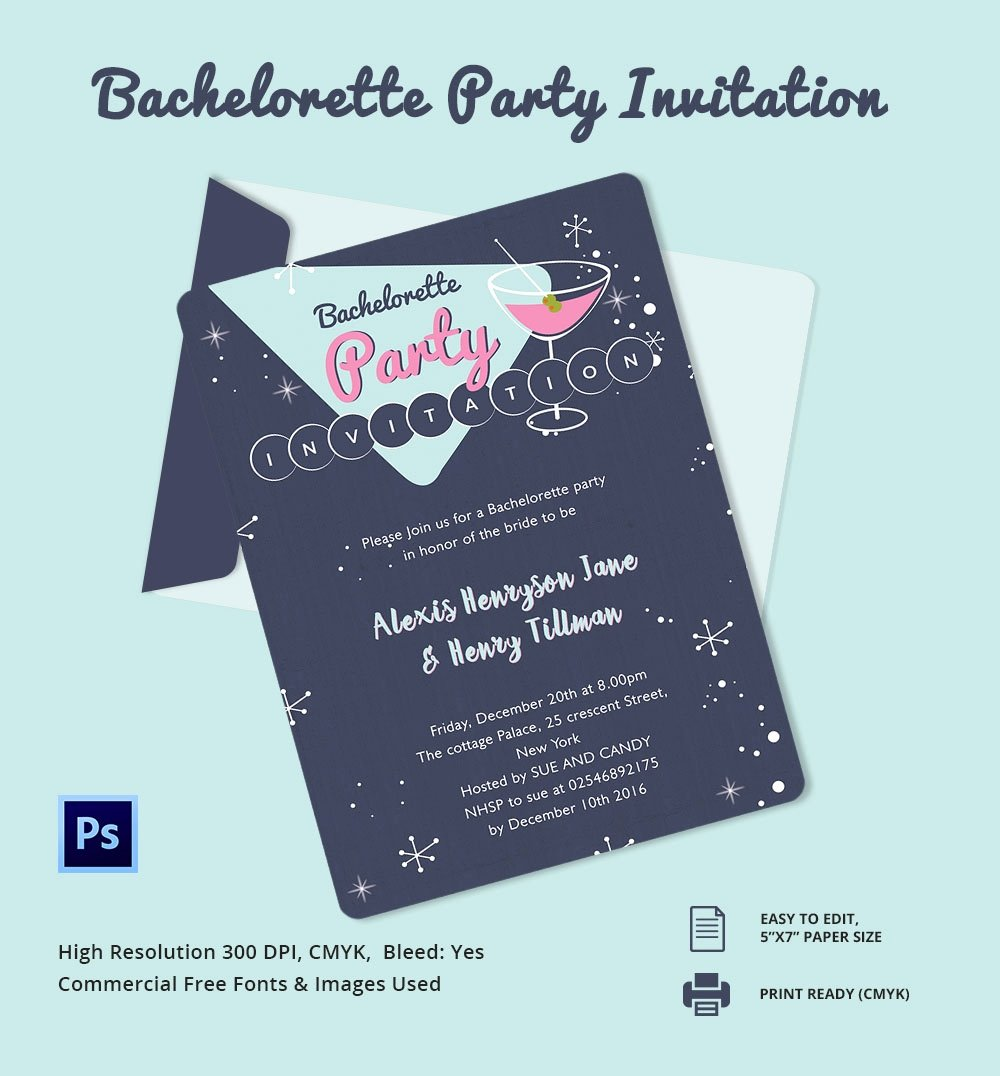 Bachelor Party Invites Template Beautiful Bachelorette Invitation Template 40 Free Psd Vector