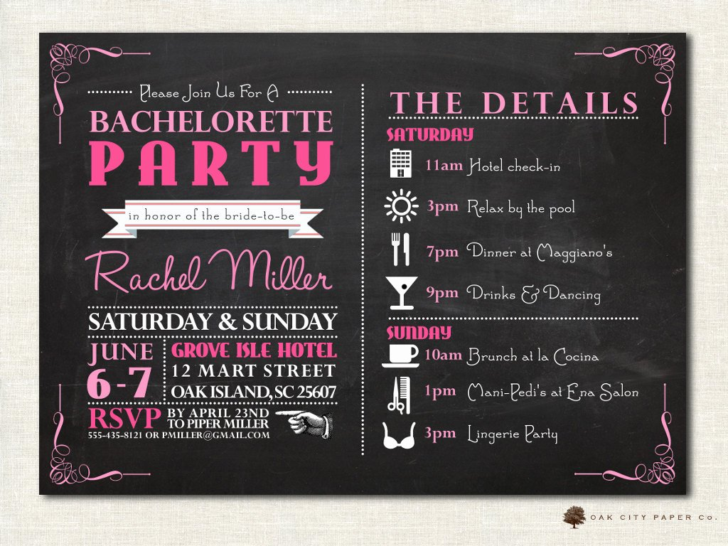 Bachelorette Itinerary Template Free Awesome Bachelorette Invitation Bachelorette Party Invitation