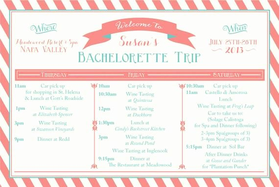 Bachelorette Itinerary Template Free Awesome Bachelorette Weekend Itinerary by Oohlalovely On Etsy