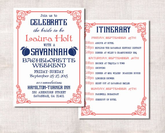 Bachelorette Itinerary Template Free Best Of Bachelorette Party Weekend Invitation and Itinerary Custom