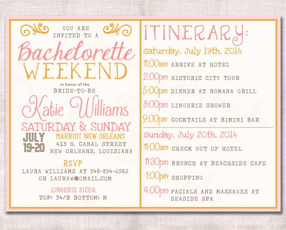 Bachelorette Itinerary Template Free Inspirational Bachelorette Party Itinerary Template Templates Station