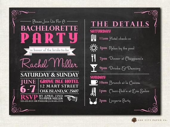 Bachelorette Itinerary Template Free Lovely Bachelorette Invitation Bachelorette Party by