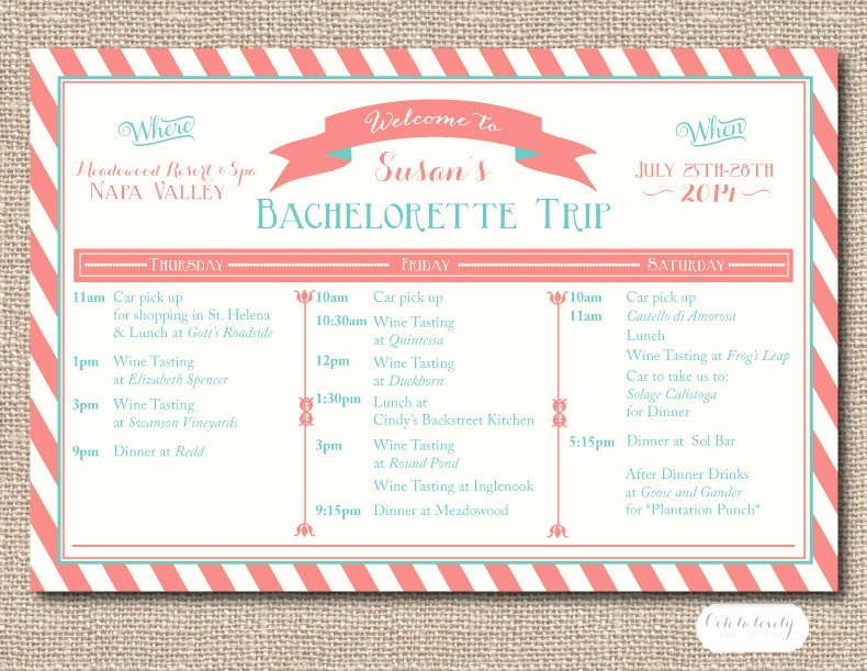 Bachelorette Itinerary Template Free Luxury Printable Bachelorette Weekend Itinerary Birthday Weekend