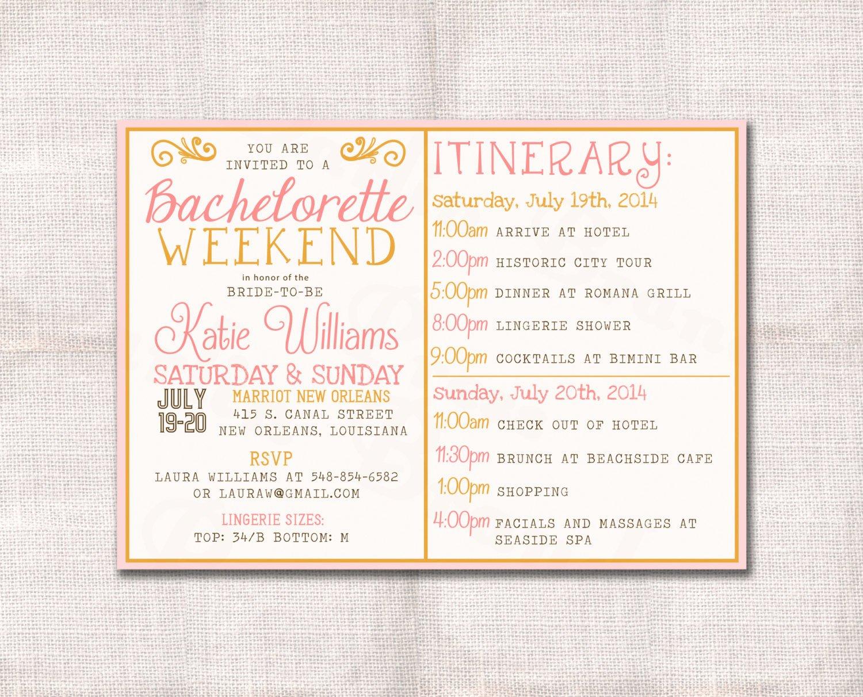 Bachelorette Party Invite Template Beautiful Bachelorette Party Weekend Invitation and Itinerary Custom