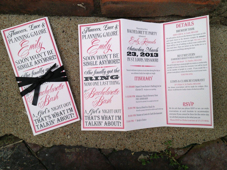Bachelorette Party Invite Template Inspirational Bachelorette Party Invite Trifolded Itinerary