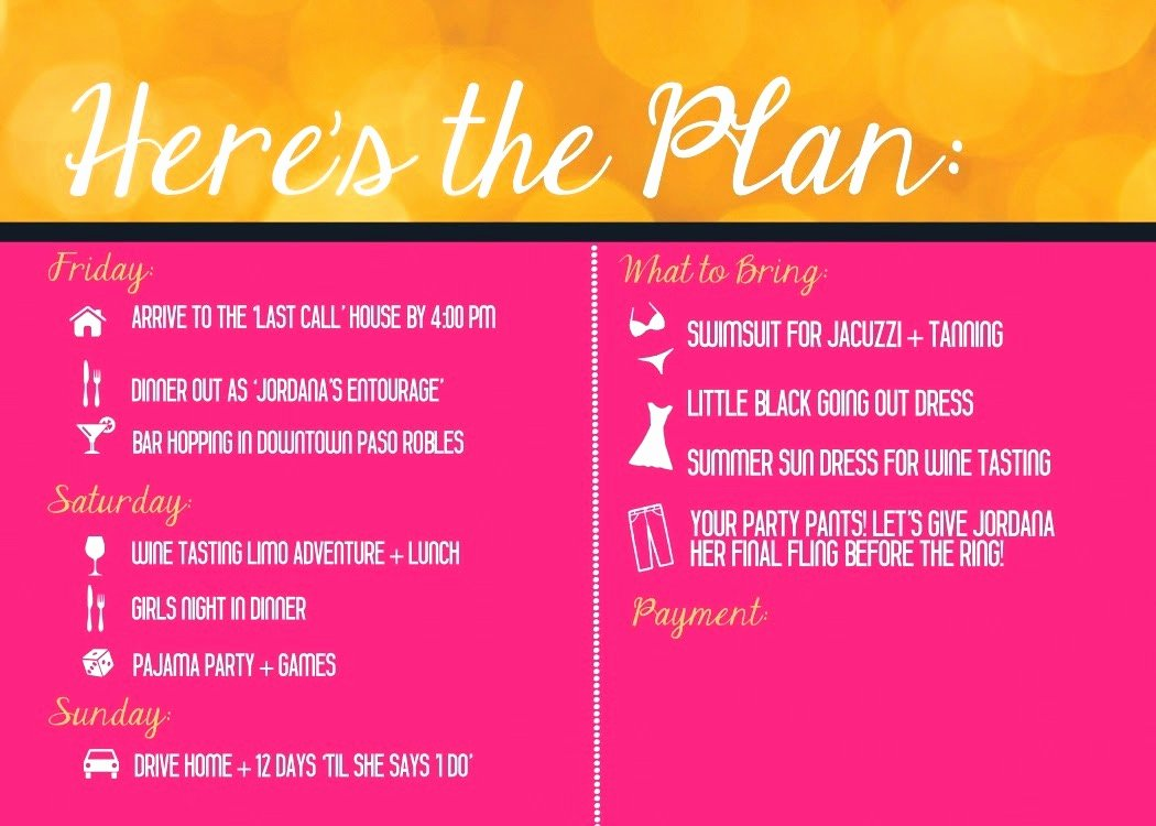 Bachelorette Party Itinerary Template Elegant Birthday Itinerary Template Mughals