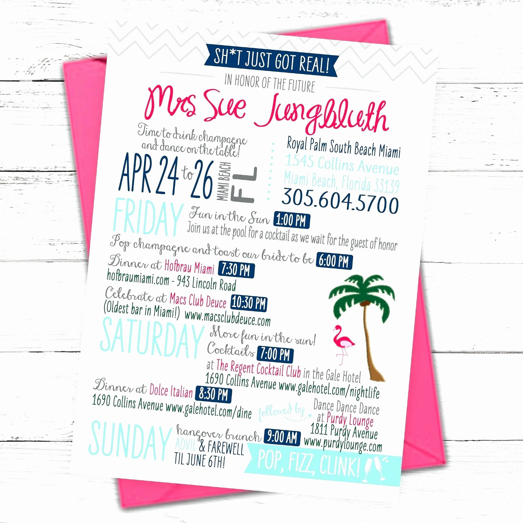 Bachelorette Party Itinerary Template Fresh Bachelorette Party Itinerary Template Templates Station