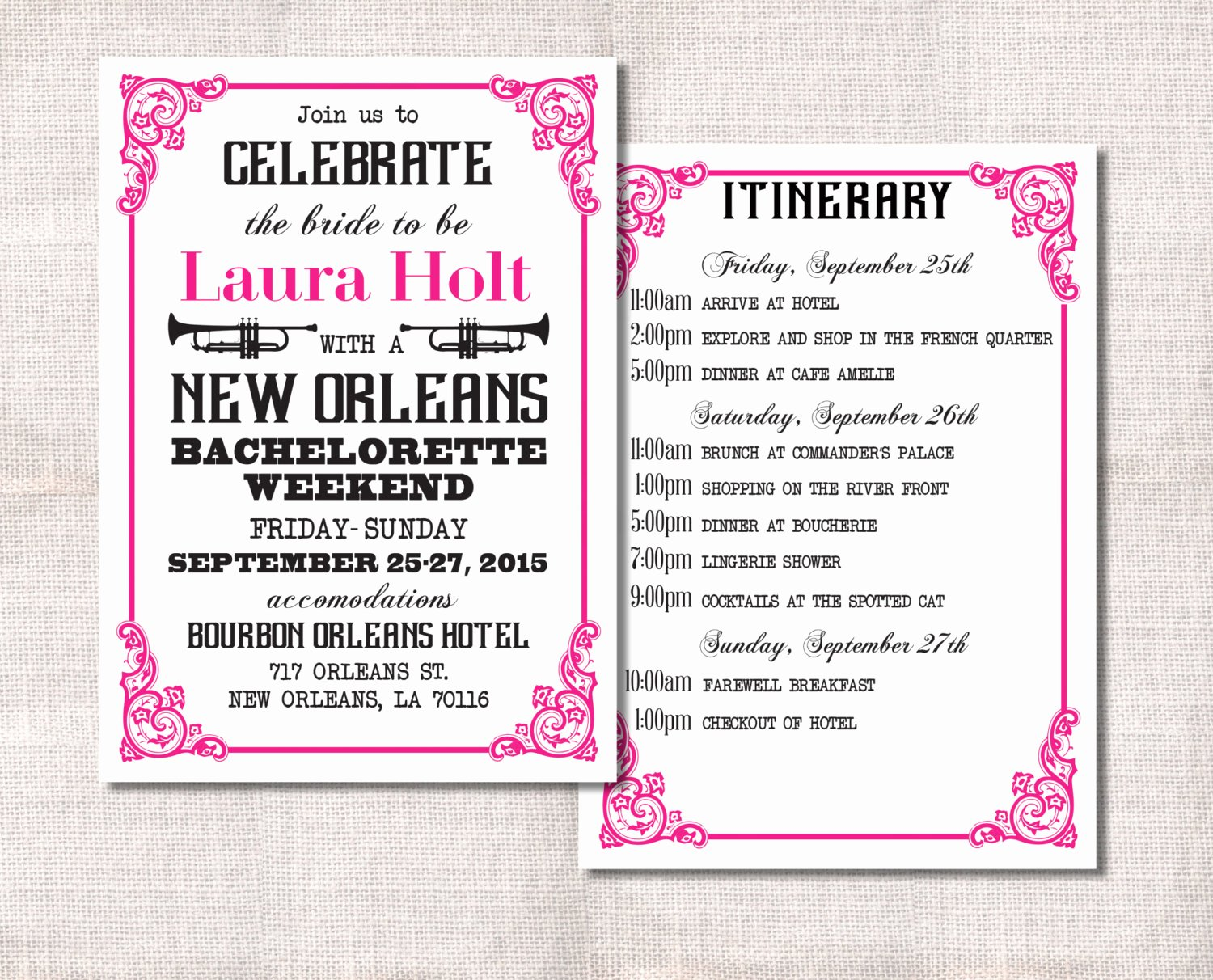 Bachelorette Party Itinerary Template Fresh Bachelorette Party Weekend Invitation and Itinerary Custom