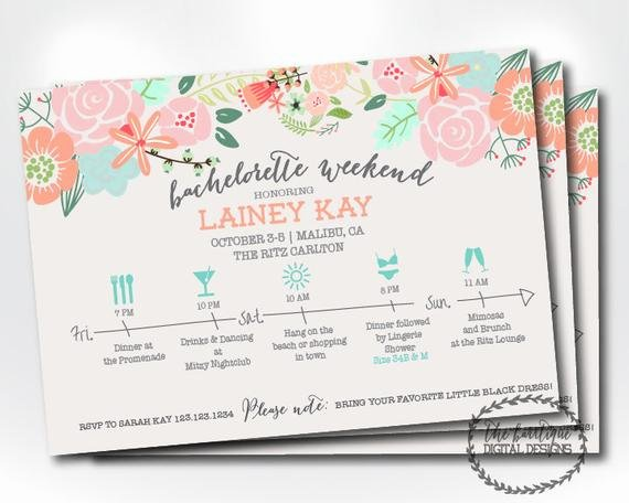 Bachelorette Party Itinerary Template Lovely Bachelorette Party Itinerary Invitation Bachelorette Weekend