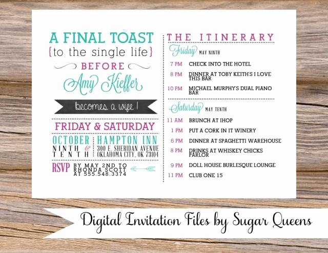 Bachelorette Party Itinerary Template Lovely Bachelorette Party Weekend Wedding Invitation Diy