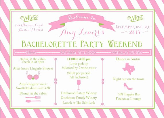 Bachelorette Party Itinerary Template Luxury Bacheloretternweekend Itinerary Templates