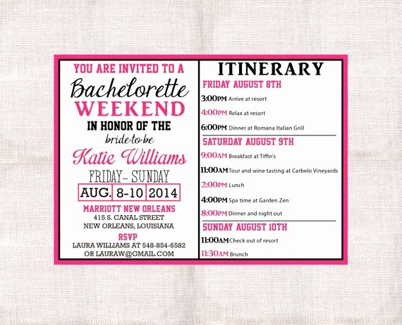 Bachelorette Party Itinerary Template New Bachelorette Party Itinerary Template Luxury Bachelorette