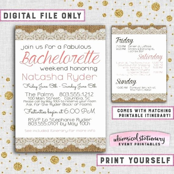 bachelorette party weekend invitation itinerary burlap