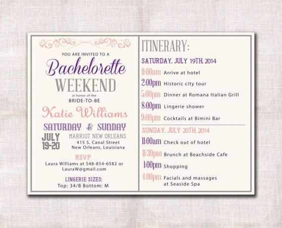 Bachelorette Party Itinerary Template New Bachelorette Party Weekend Invitation Itinerary