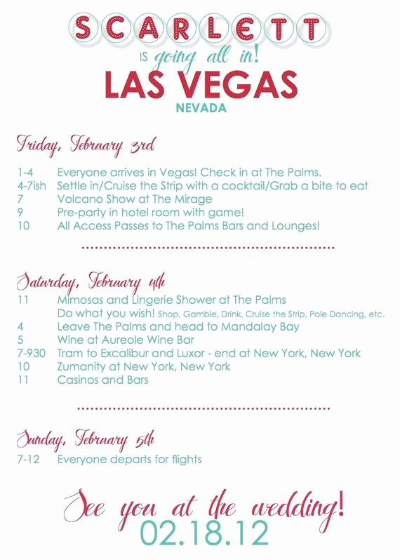 Bachelorette Party Itinerary Template Unique Items Similar to Custom Vegas Bachelorette Invitation