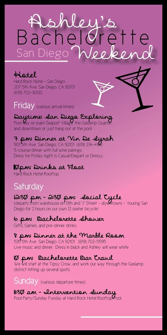 Bachelorette Weekend Itinerary Template Awesome Bachelorette Party Itinerary by Madewithloveinvites On