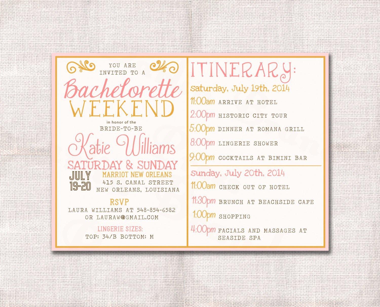 Bachelorette Weekend Itinerary Template Best Of Bachelorette Party Weekend Invitation and Itinerary Custom