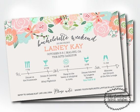 Bachelorette Weekend Itinerary Template Elegant Bachelorette Party Itinerary Invitation Bachelorette