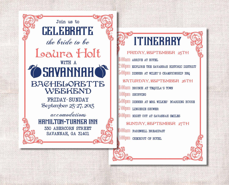 Bachelorette Weekend Itinerary Template Fresh Bachelorette Party Weekend Invitation and Itinerary Custom