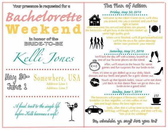 Bachelorette Weekend Itinerary Template Fresh Colorful and Fun This Invite is Perfect for Any Party