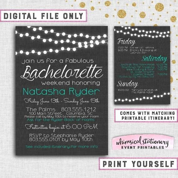 "Bachelorette Weekend Itinerary Template Inspirational Bachelorette Party Weekend Invitation & Itinerary ""fabric"