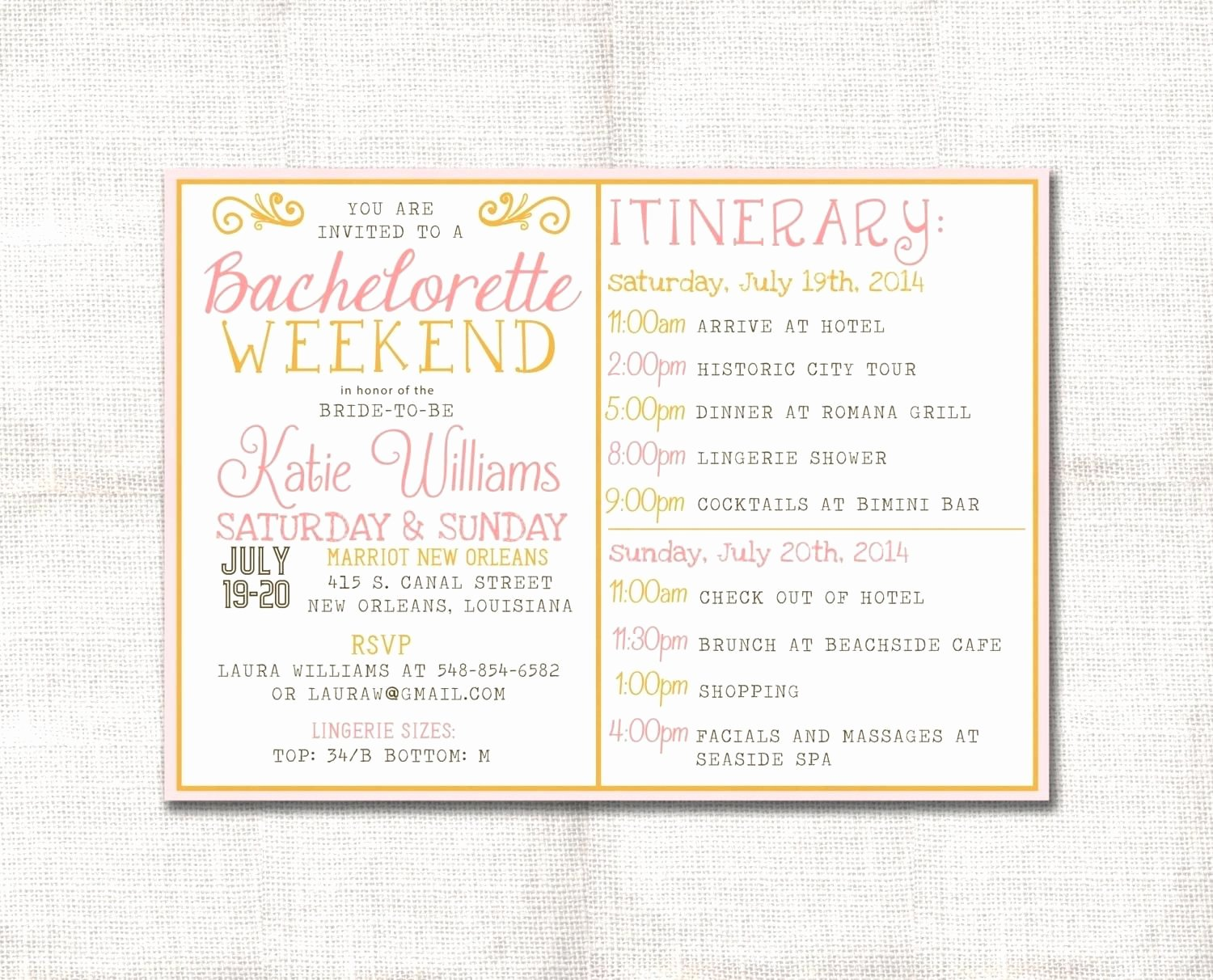Bachelorette Weekend Itinerary Template Inspirational Template Bachelorette Party Agenda Template Zoom Free