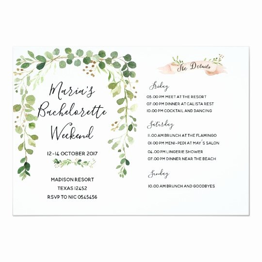 Bachelorette Weekend Itinerary Template Lovely Greenery Bachelorette Weekend Itinerary Invitation