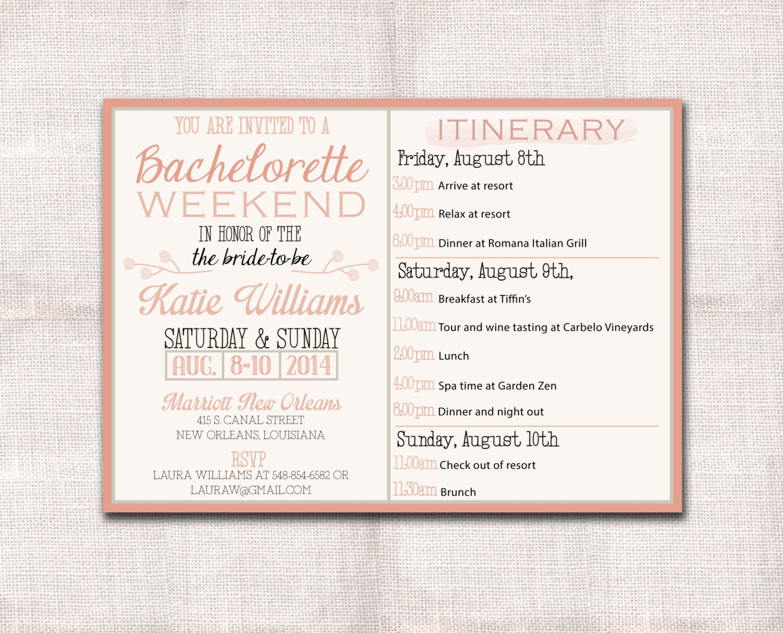 Bachelorette Weekend Itinerary Template Luxury Bachelorette Party Weekend Invitation and Itinerary Custom