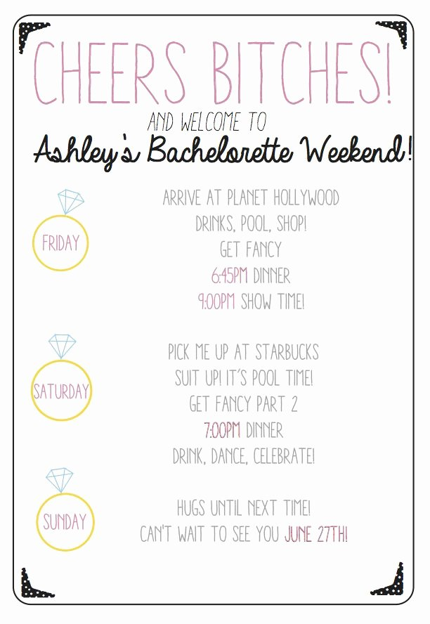Bachelorette Weekend Itinerary Template Luxury Cheers Bitches Use This Custom Printable Bachelorette