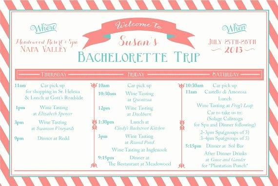 Bachelorette Weekend Itinerary Template Luxury Printable Bachelorette Weekend Itinerary Birthday Weekend